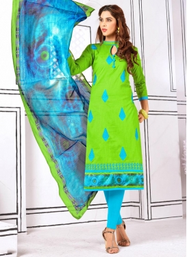 Light Blue and Mint Green Trendy Churidar Suit For Casual