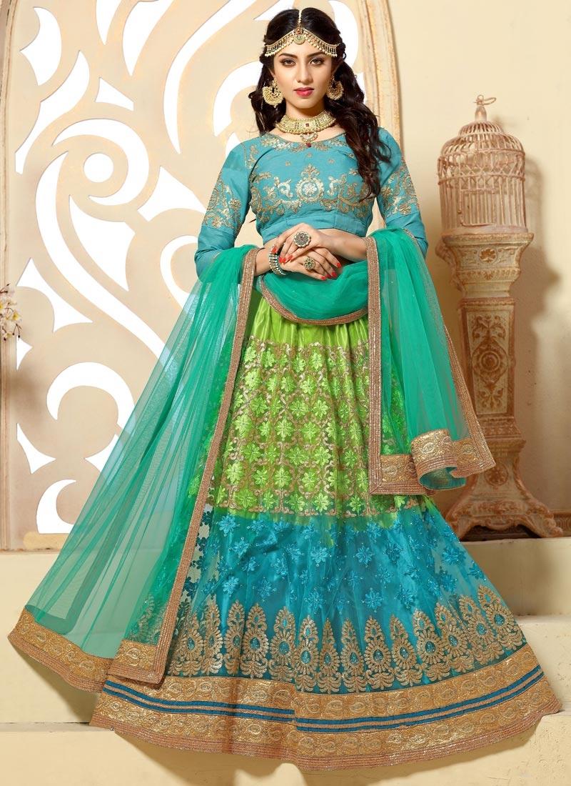 Buy light blue and mint green trendy lehenga for party online - Light blue and mint green ...