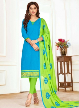 Light Blue and Mint Green Trendy Straight Salwar Suit