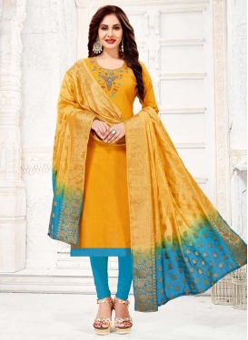 Light Blue and Mustard Beads Work Cotton Trendy Churidar Salwar Suit