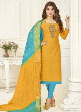 Light Blue and Mustard Cotton Trendy Churidar Salwar Suit