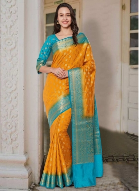 Light Blue and Mustard Thread Work Contemporary Style Saree