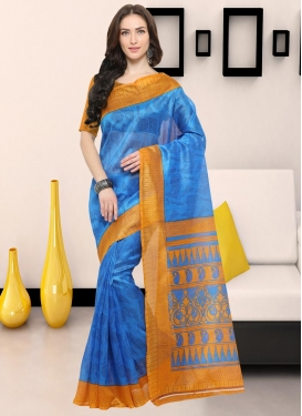Light Blue and Mustard  Trendy Saree