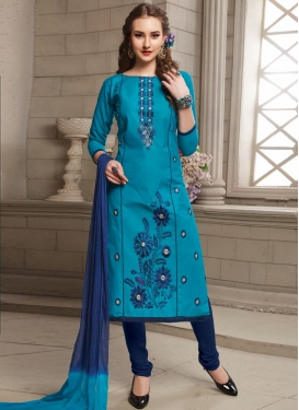 Light Blue and Navy Blue Cotton Trendy Straight Salwar Kameez