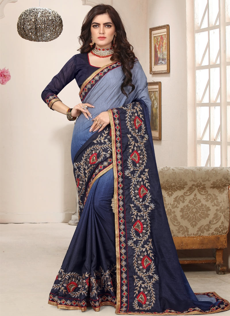 Light Blue and Navy Blue Designer Contemporary Style Saree