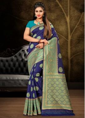 Light Blue and Navy Blue Designer Contemporary Style Saree