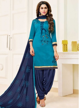 Light Blue and Navy Blue Designer Semi Patiala Salwar Suit