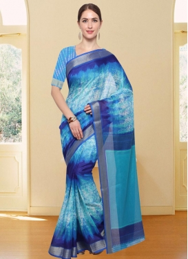 Light Blue and Navy Blue Digital Print Work Contemporary Style Saree