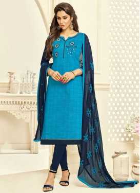 Light Blue and Navy Blue Embroidered Work Trendy Churidar Salwar Suit
