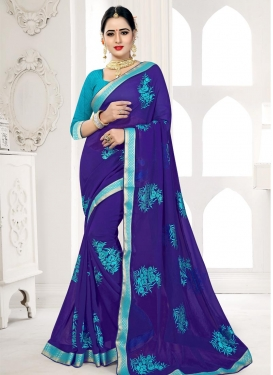 Light Blue and Navy Blue Embroidered Work Trendy Saree