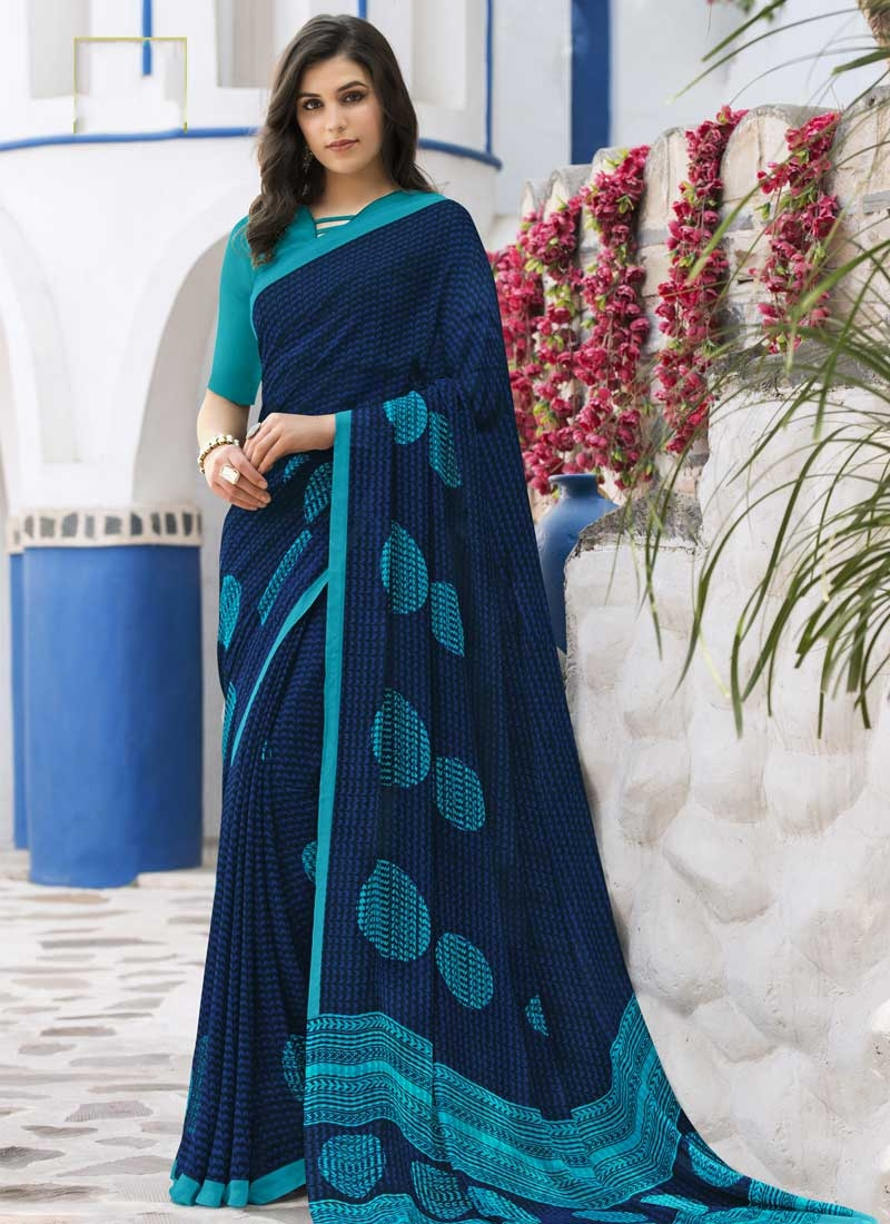Light Blue and Navy Blue Faux Georgette Contemporary Saree