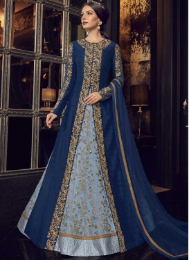 Light Blue and Navy Blue Jacket Style Floor Length Suit For Ceremonial