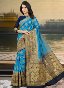 Light Blue and Navy Blue Thread Work Contemporary Style Saree