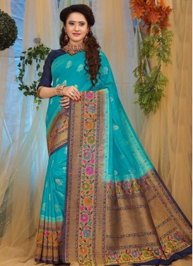 Light Blue and Navy Blue Thread Work Trendy Saree
