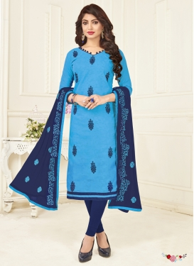 Light Blue and Navy Blue Trendy Churidar Suit For Casual