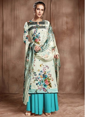 Light Blue and Off White Cotton Palazzo Style Pakistani Salwar Suit