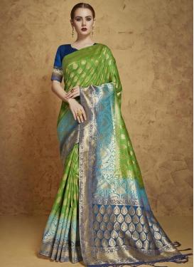 Light Blue and Olive Banarasi Silk Contemporary Style Saree