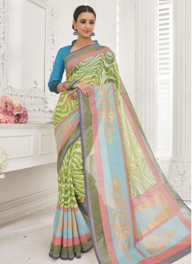 Light Blue and Olive Brasso Georgette Trendy Saree