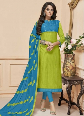 Light Blue and Olive Churidar Salwar Kameez For Casual