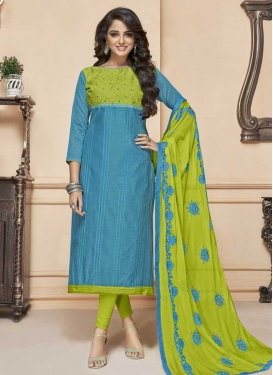 Light Blue and Olive Cotton Silk Trendy Churidar Suit