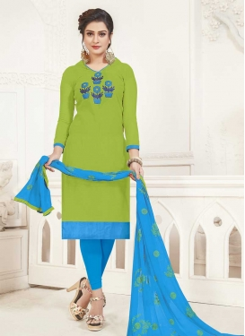 Light Blue and Olive Cotton Trendy Straight Suit