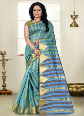 Light Blue and Olive Designer Contemporary Style Saree