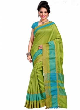 Light Blue and Olive Print Work Trendy Classic Saree