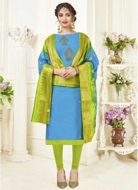 Light Blue and Olive Trendy Churidar Salwar Kameez
