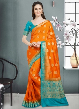 Light Blue and Orange Thread Work Classic Saree