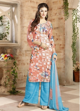 Light Blue and Peach Brasso Georgette Palazzo Straight Suit For Ceremonial