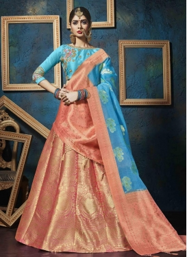 Light Blue and Peach Jacquard Silk Trendy Lehenga Choli For Festival