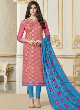 Light Blue and Pink Lace Work Trendy Churidar Salwar Suit