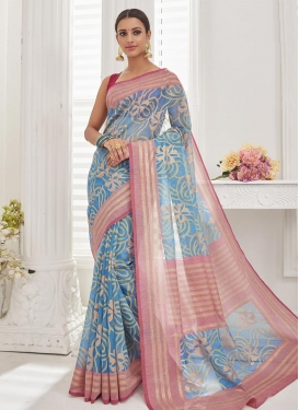 Light Blue and Pink Resham Work Trendy Saree