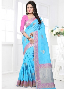 Light Blue and Pink  Trendy Saree