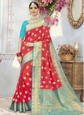 Light Blue and Red Contemporary Style Saree