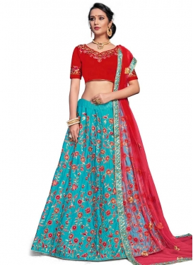 Light Blue and Red Embroidered Work Trendy Lehenga