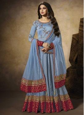 Light Blue and Red Trendy Anarkali Salwar Suit