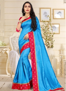 Light Blue and Rose Pink Art Raw Silk Trendy Classic Saree For Ceremonial
