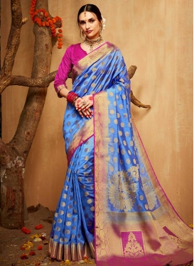 Light Blue and Rose Pink Designer Contemporary Saree