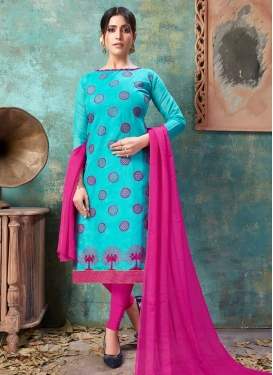 Light Blue and Rose Pink Embroidered Work Chanderi Cotton Churidar Salwar Suit