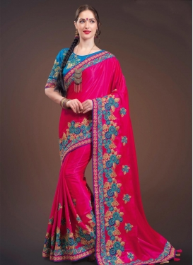Light Blue and Rose Pink Satin Silk Contemporary Style Saree