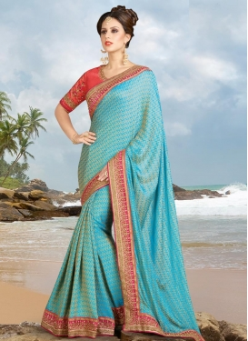 Light Blue and Rose Pink Silk Traditional Saree