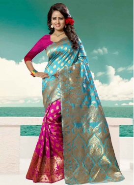 Light Blue and Rose Pink Thread Work Half N Half Designer Saree