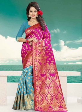 Light Blue and Rose Pink Thread Work Half N Half Trendy Saree