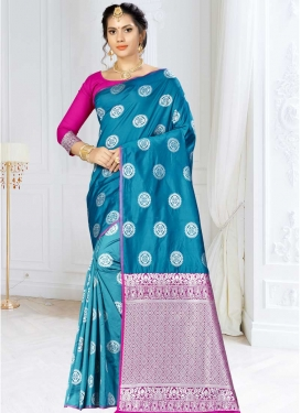 Light Blue and Rose Pink Thread Work Trendy Classic Saree