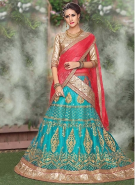 Light Blue and Rose Pink Trendy Lehenga For Ceremonial