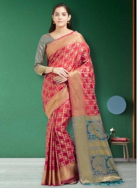 Light Blue and Salmon Traditional Saree