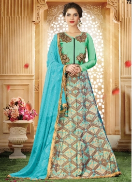 Light Blue and Sea Green Embroidered Work Jacquard Silk Designer Classic Lehenga Choli