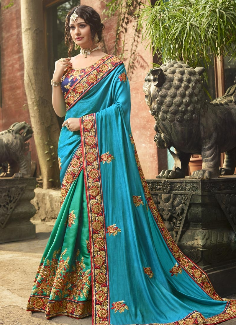 Light Blue and Sea Green Satin Silk Half N Half Saree For Bridal