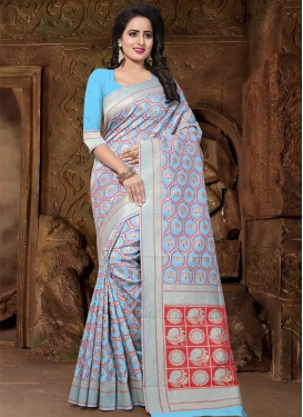 Light Blue and Silver Color Thread Work Contemporary Style Saree